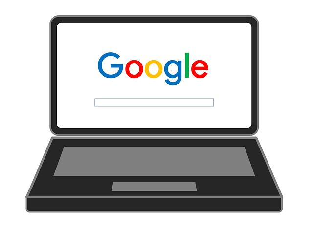 Google検索画面が表示されたパソコン