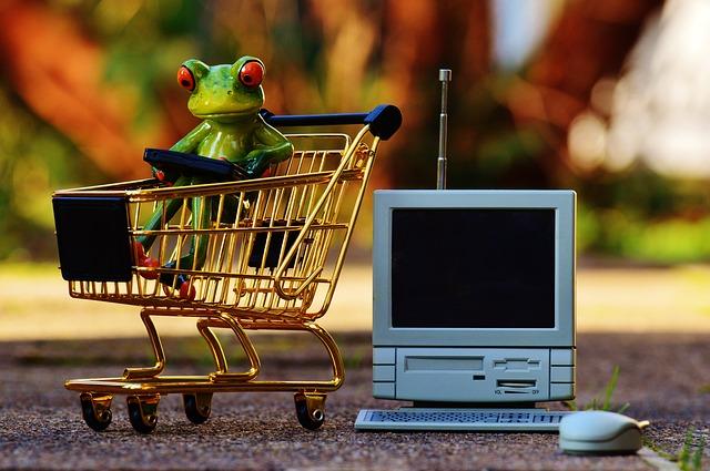 カエルと買い物かごとテレビのミニチュア