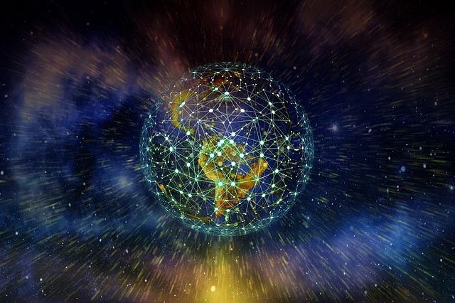 宇宙空間から見える世界中のネットワークが繋がった地球