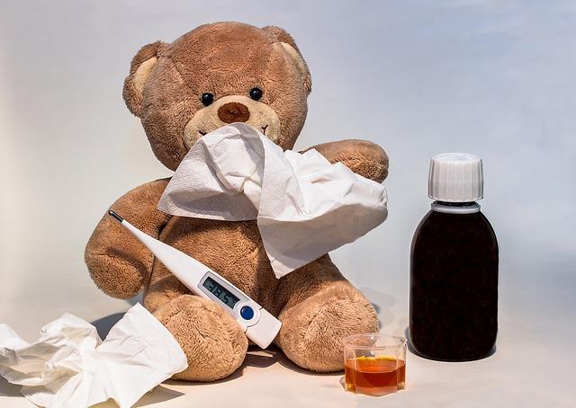 風邪をひいたクマのぬいぐるみ