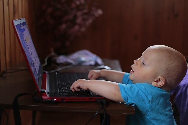 パソコンを操作している赤ちゃん