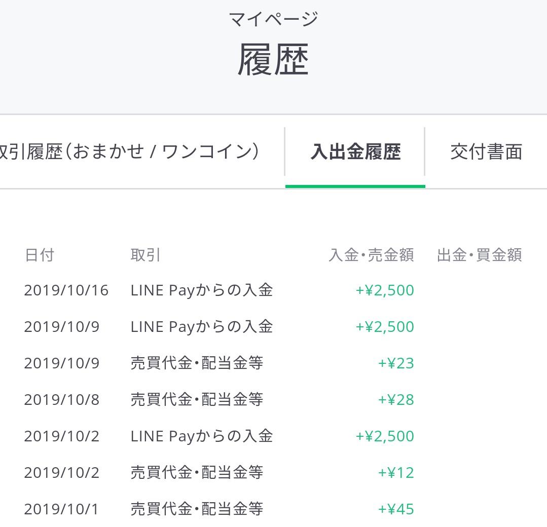 LINEワンコイン投資の入出金履歴画面