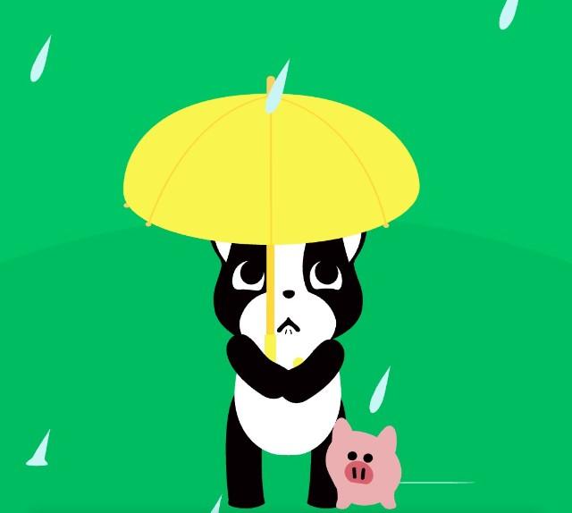 雨のなか傘をさしている「バフェ」と「PIG」
