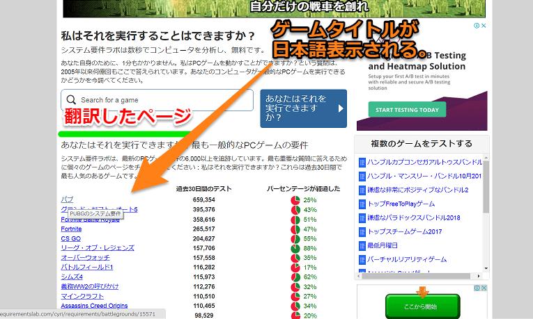 翻訳された日本語のページ