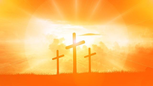 十字架と夕日