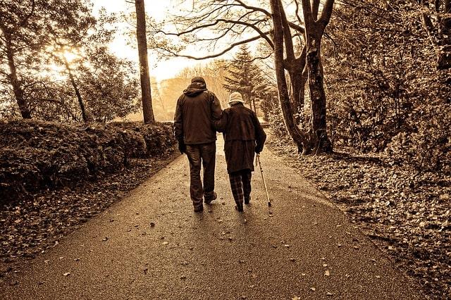 ともに歩く老夫婦