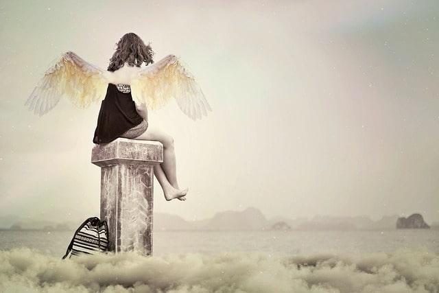 天使の羽をつけた子供