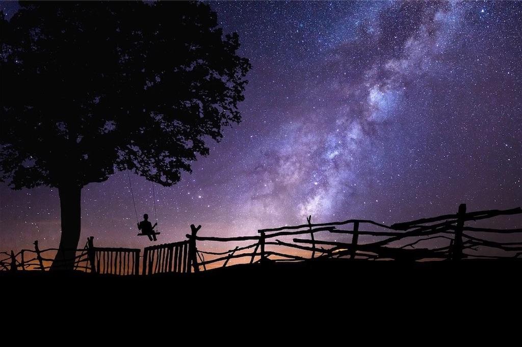夜空の下でこぐブランコ