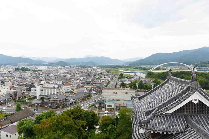 福知山城の最上階から見る福知山の景色