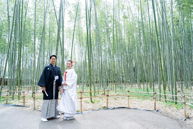 竹林での和装前撮りで人気の白無垢!
