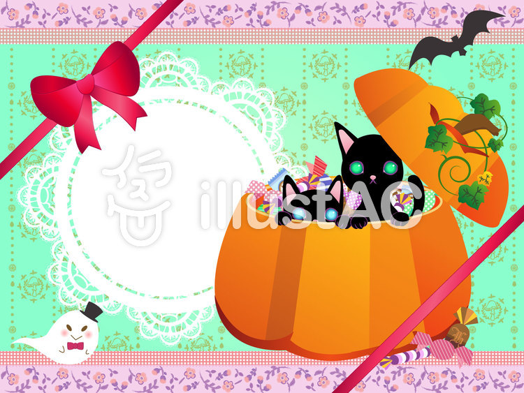 ハロウィンの黒猫とお菓子のイラスト