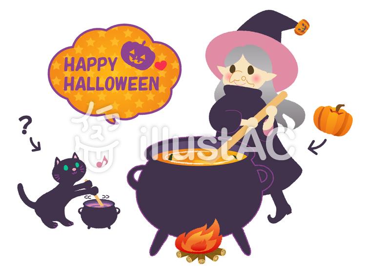 ハロウィンでかぼちゃのシチューを作る魔女のおばあさんと黒猫のイラスト