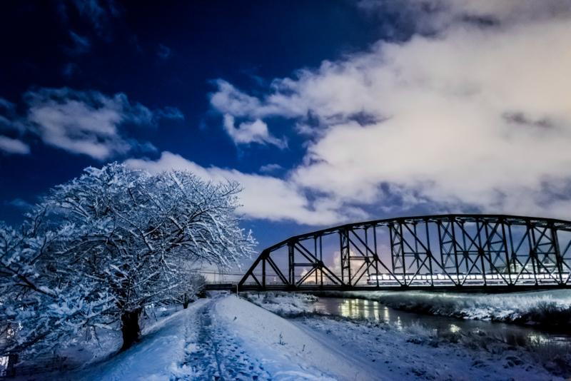 『京都新聞写真コンテスト 雪の澱川橋梁』