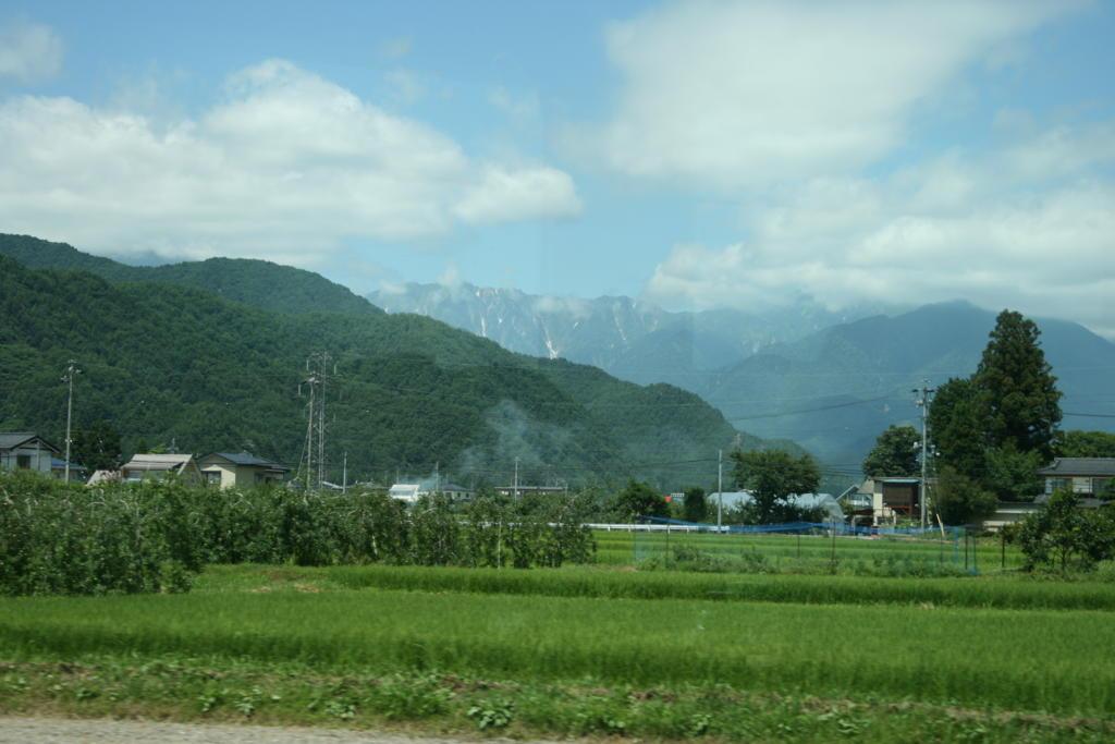 田園風景と北アルプスの山並み