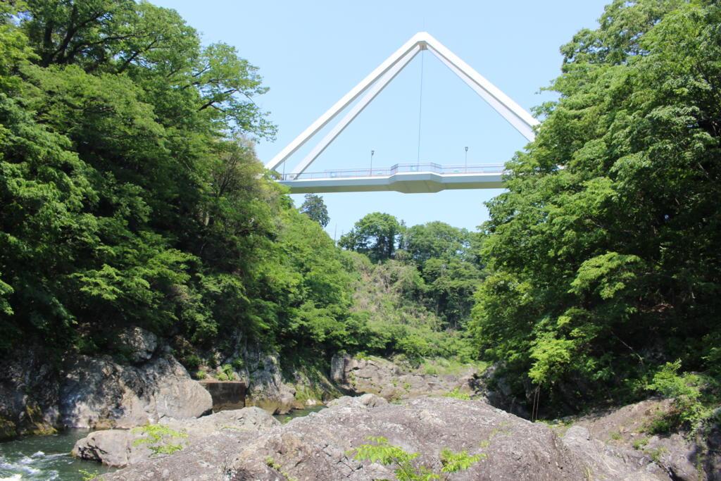 河原から見たはねたき橋