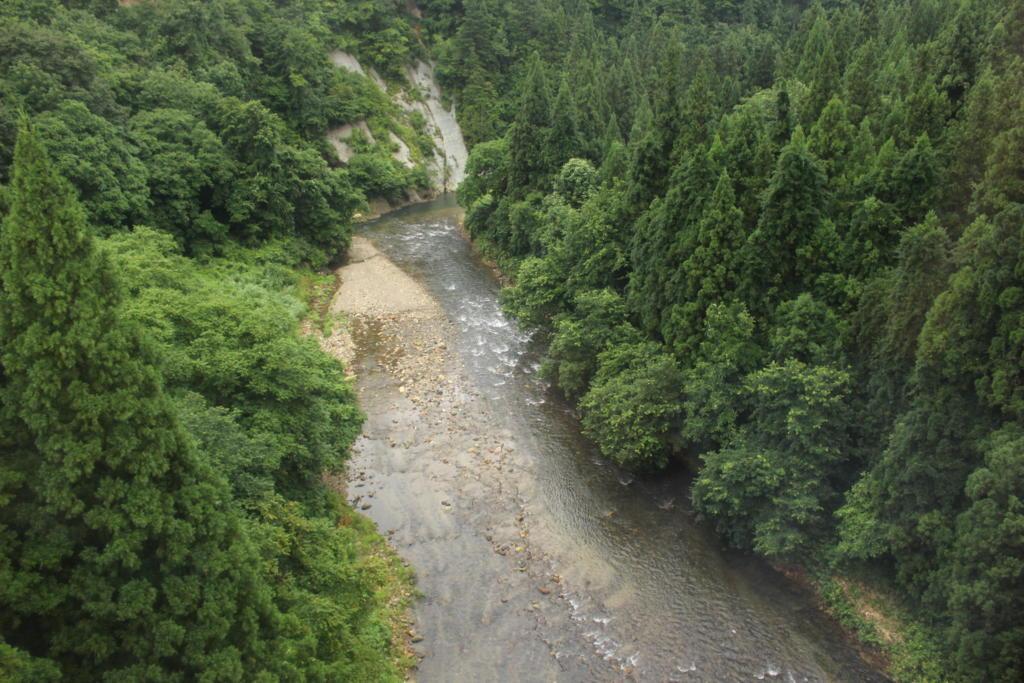 只見線から見た滝谷川の風景