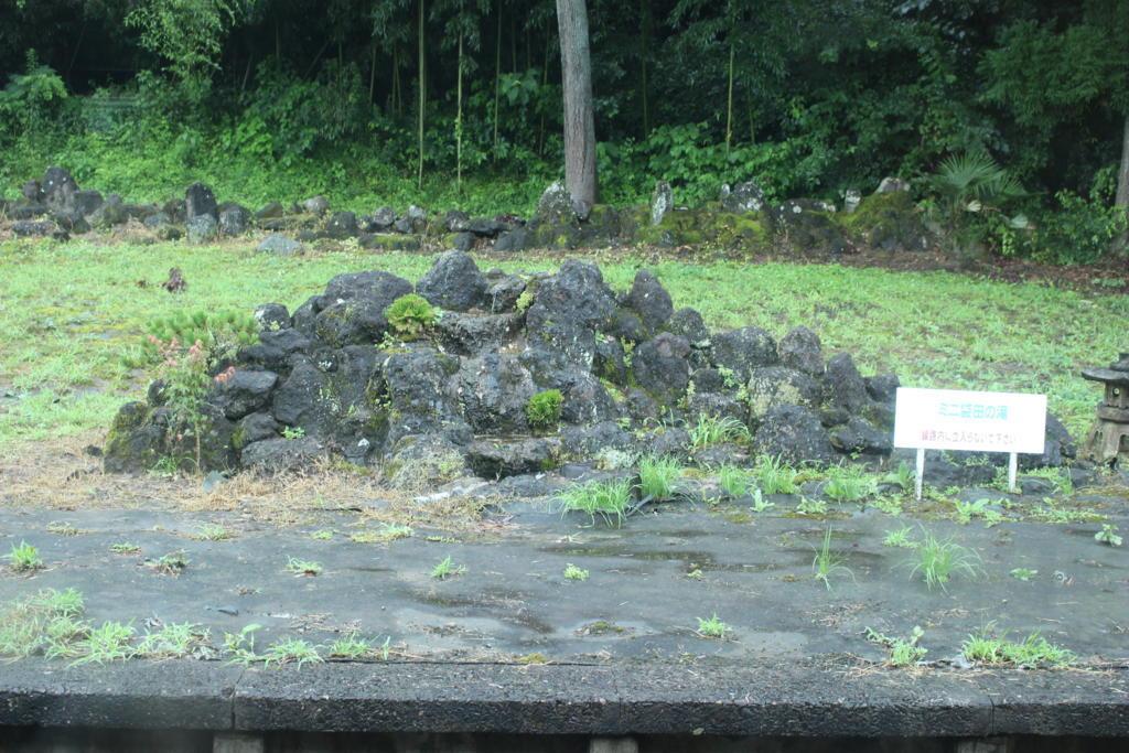 常陸大子駅のホームにあったミニ袋田の滝