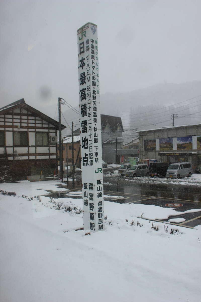 森宮野原駅の積雪7.85メートルの記念碑