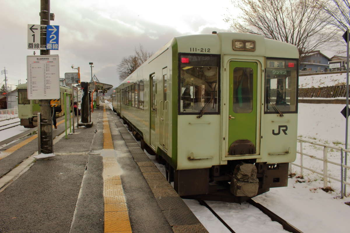 長野行きの飯山線の列車は2両編成!
