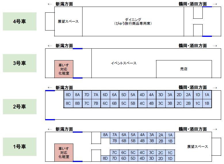 「海里」の座席表、座席番号