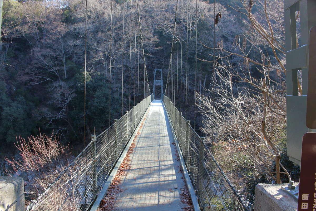 つつじ橋の両側の金網は低め、気をつけて天竜峡を眺めましょう