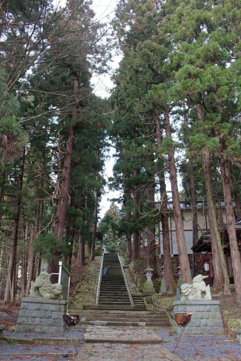 熊野大社の境内へ続く石段は荘厳な雰囲気