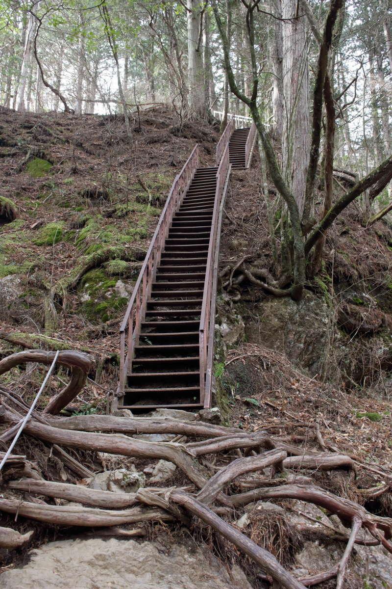 「七代の滝」からロックガーデン入口へは急な階段が続く!