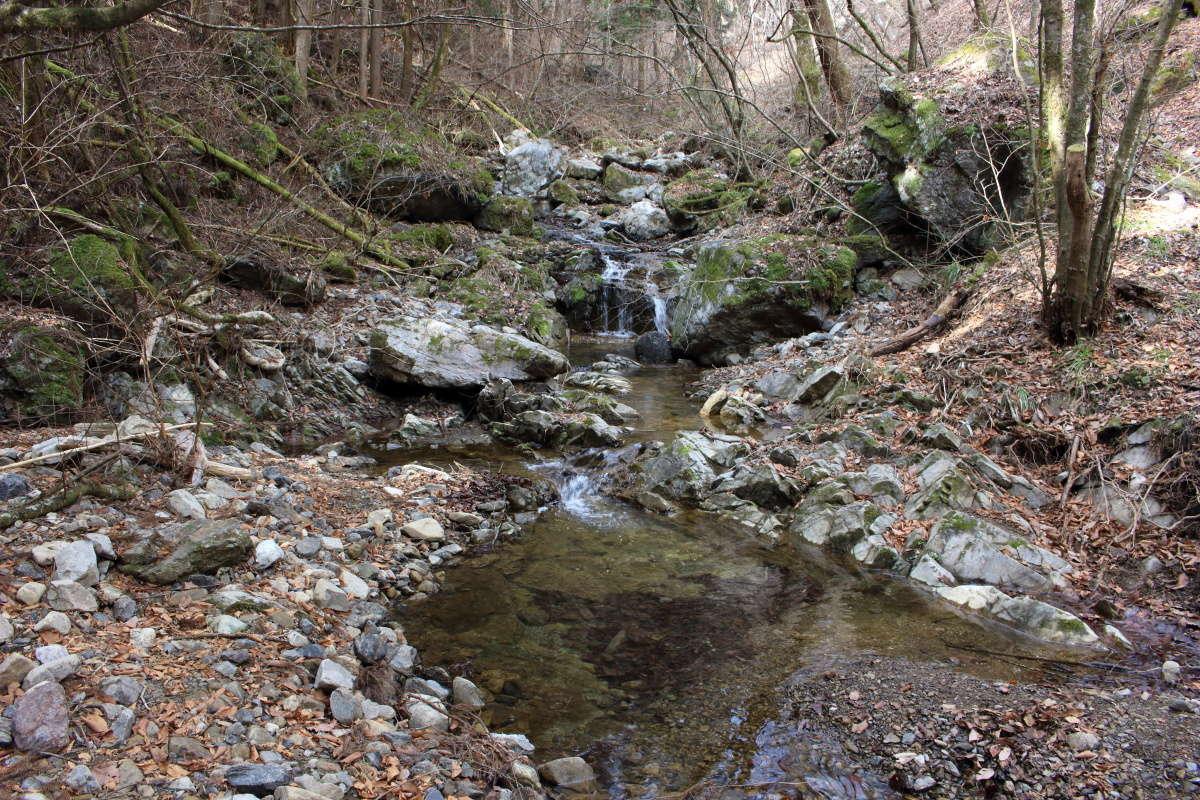 大小の奇岩が沢沿いに転がるロックガーデン
