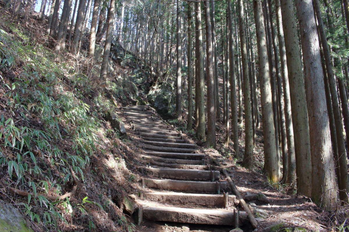 日の出山山頂直下には急な階段も!