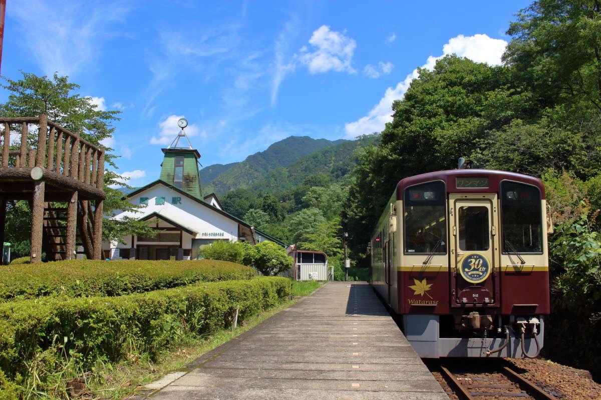 間藤駅に停車中のわたらせ渓谷鐵道の気動車