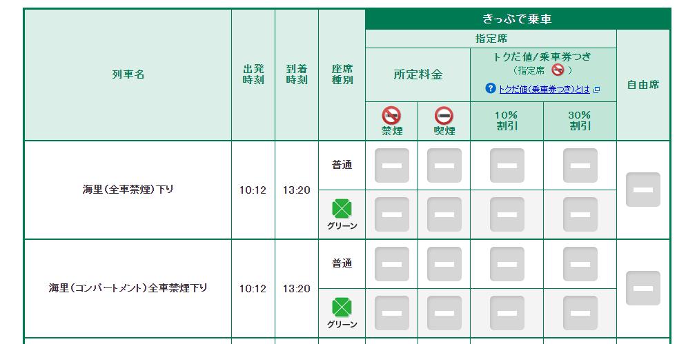 「海里」のえきねっとでの列車予約画面