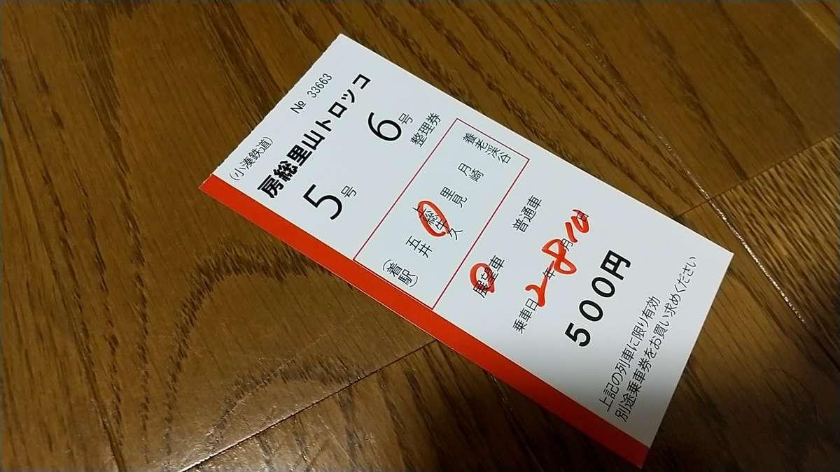 「房総里山トロッコ」乗車に必要なトロッコ整理券(写真は当日券)