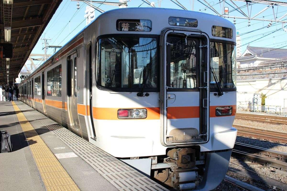身延線の普通列車は313系、2両か3両が多い