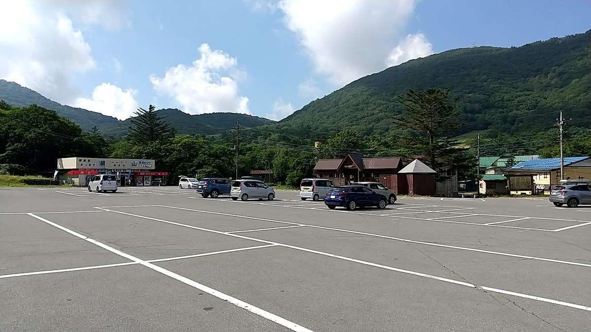 「あかぎ広場前バス停」前の駐車場