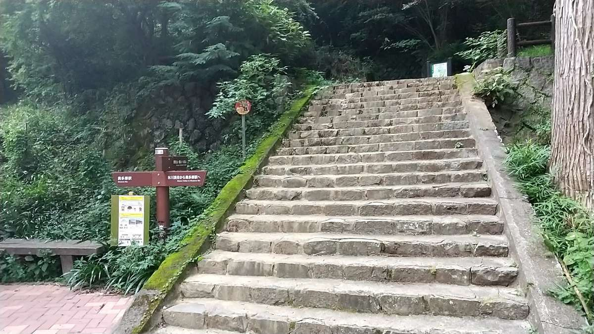 御前山山頂から3時間半の長い下りを終え、奥多摩駅の登山口に下山!