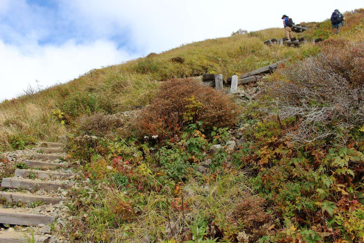 急な階段を一歩一歩、今回の行程で一番キツイ区間です
