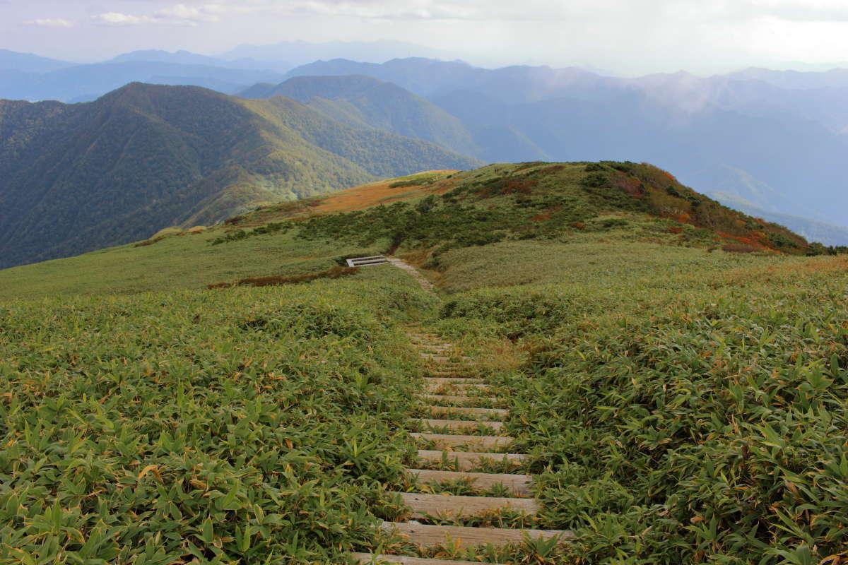 平標山山頂から山小屋「平標山の家」へ下る道は階段続き