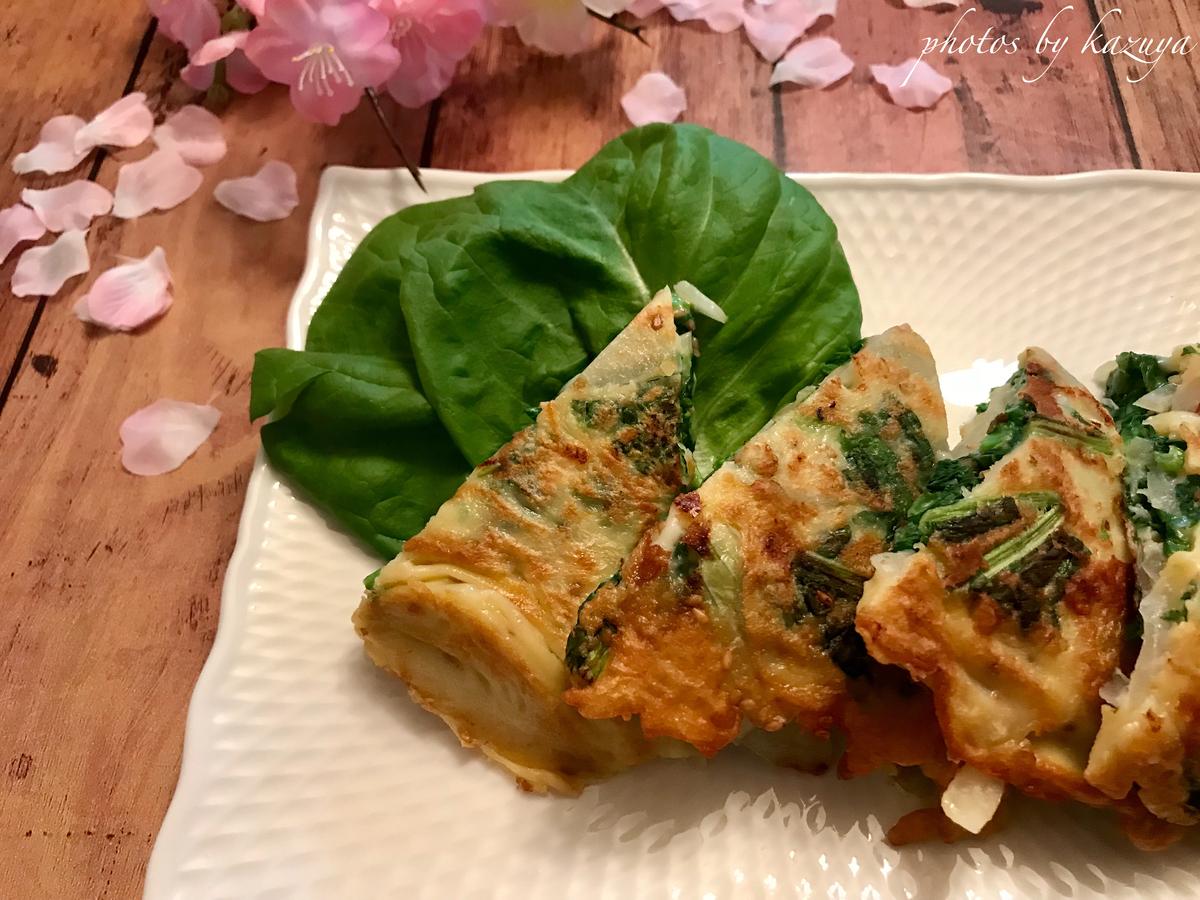菜の花のチーズチヂミ