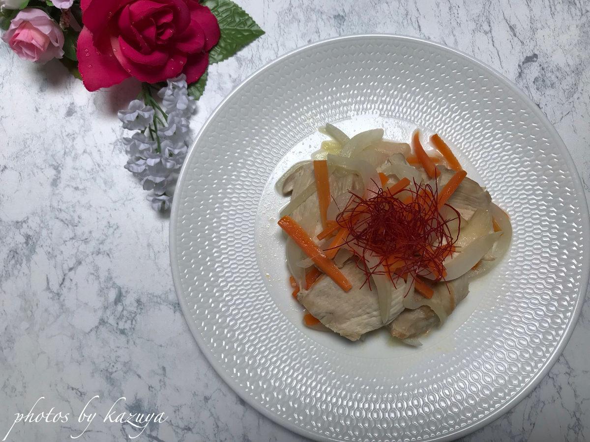 カンタン酢で鶏むね肉と香味野菜のマリネ