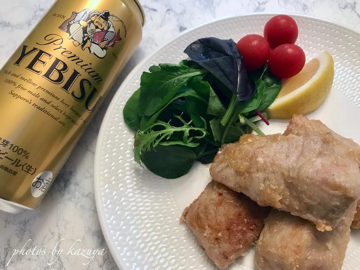 竜田揚げとビール