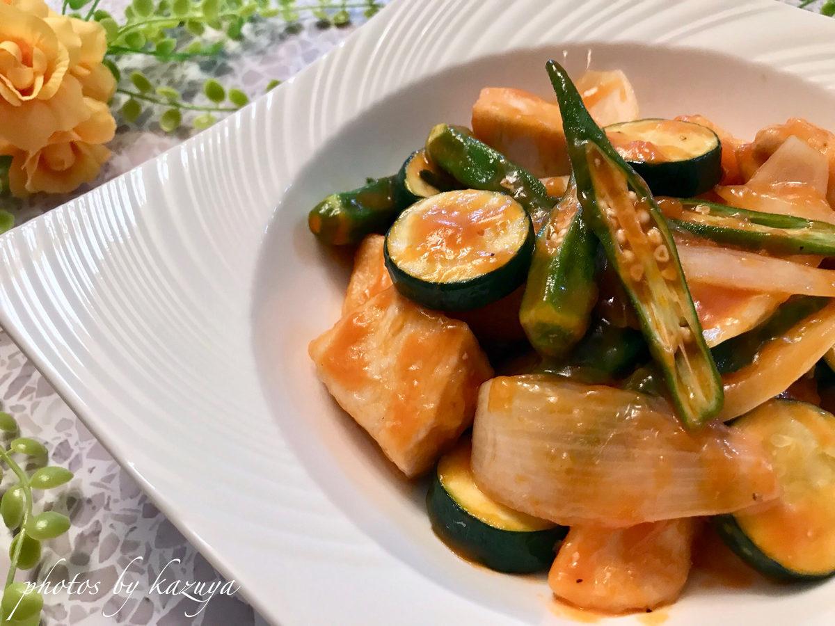 夏野菜で揚げない酢鶏
