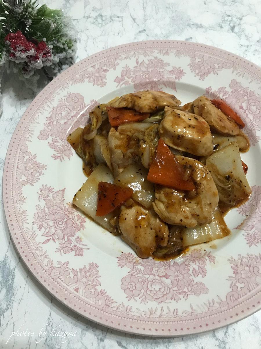鶏むね肉と白菜のオイスター炒め