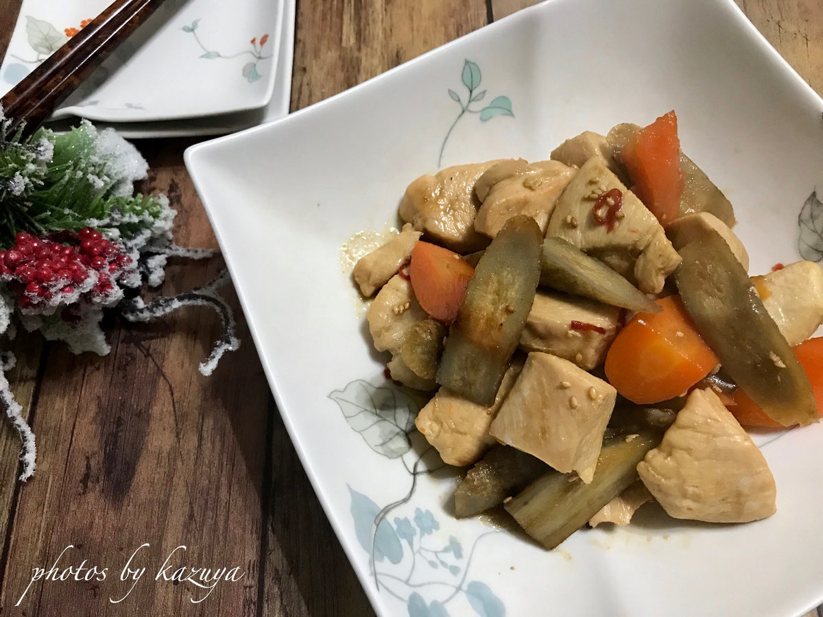 鶏むね肉とごぼうの照り煮