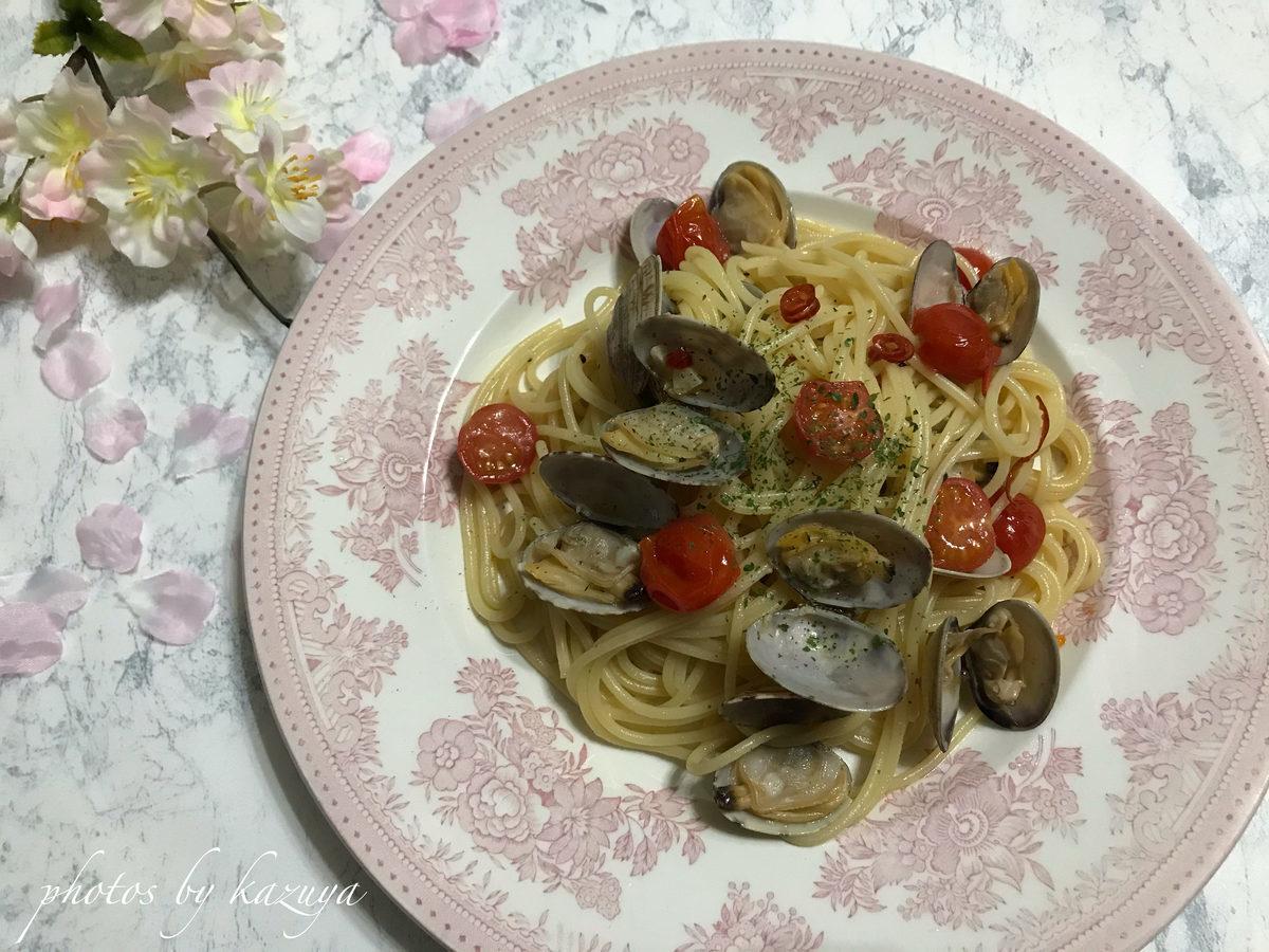 あさりとミニトマトのペペロンチーノ