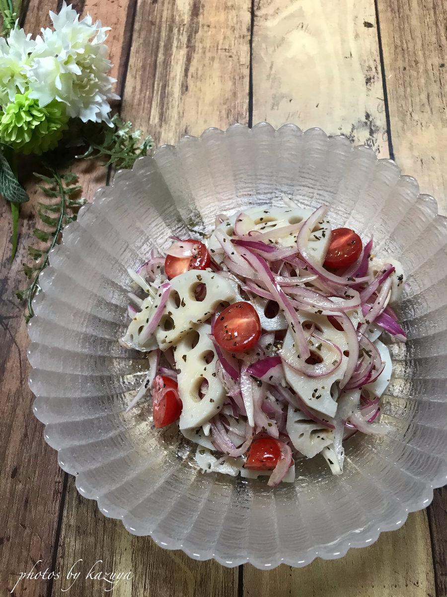 れんこんと赤玉ねぎのイタリアンサラダ