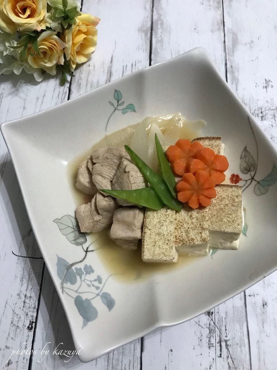 鶏むね肉であっさり肉豆腐