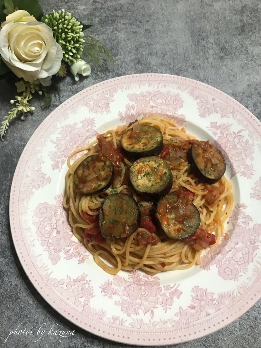 ナスとアンチョビのトマトパスタ