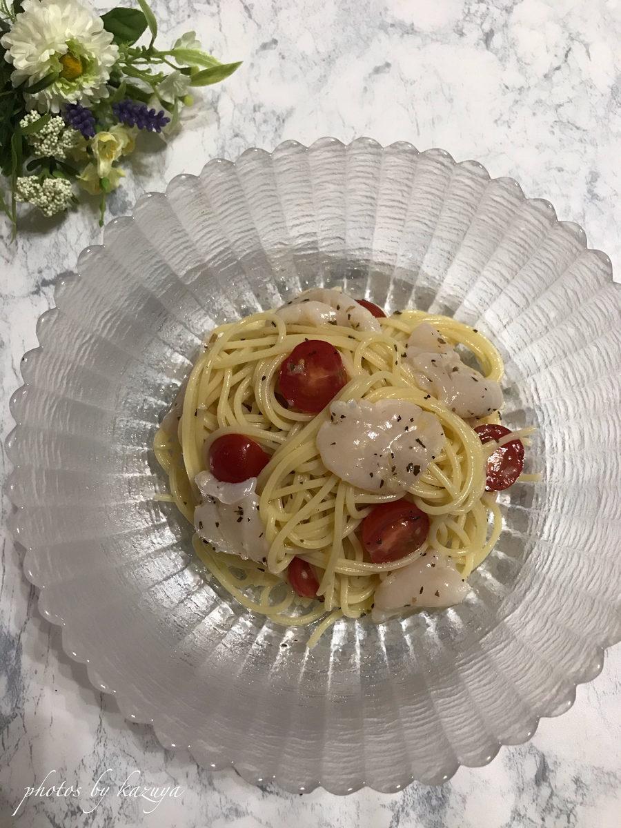 ホタテとミニトマトの冷製パスタ