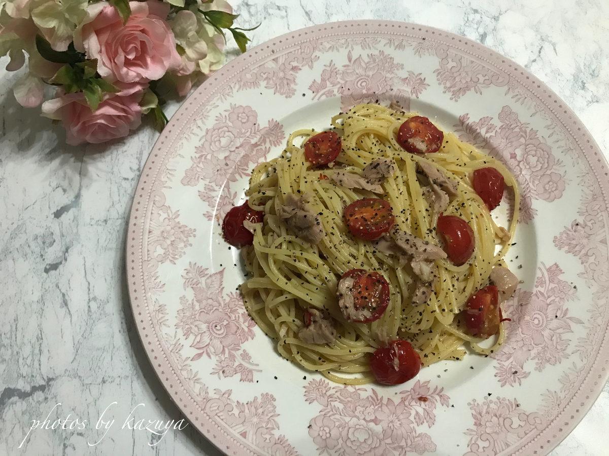ミニトマトとツナのペペロンチーノ