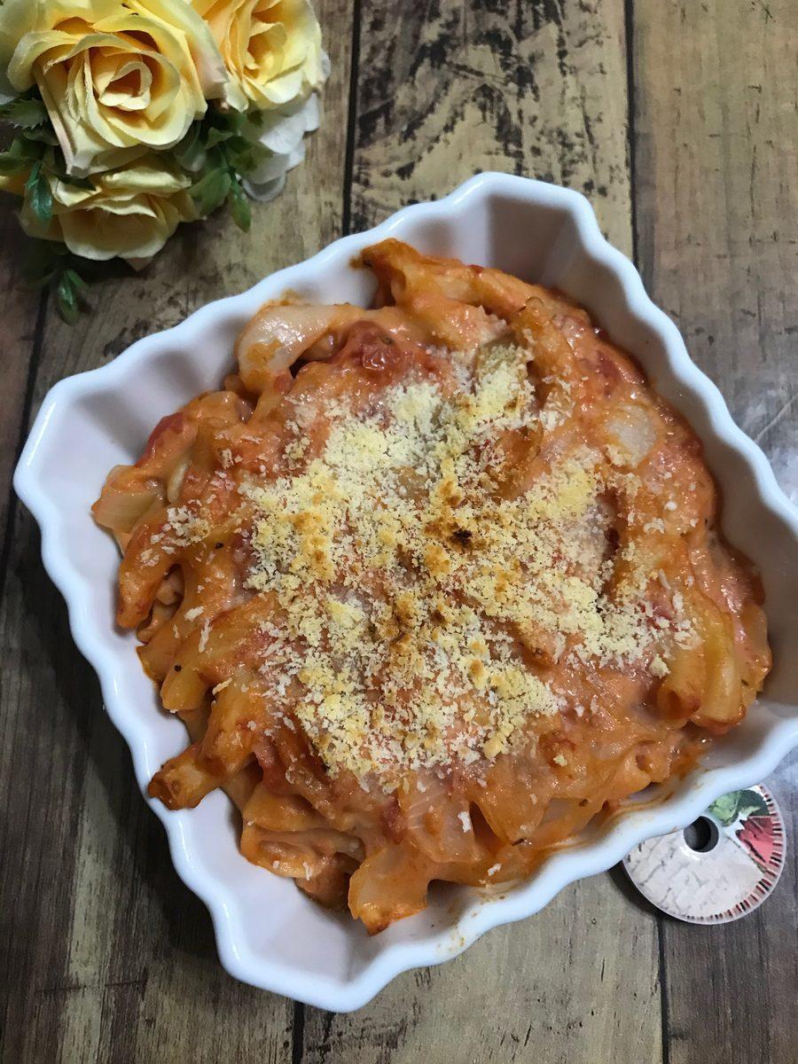 豆乳トマトマカロニグラタン